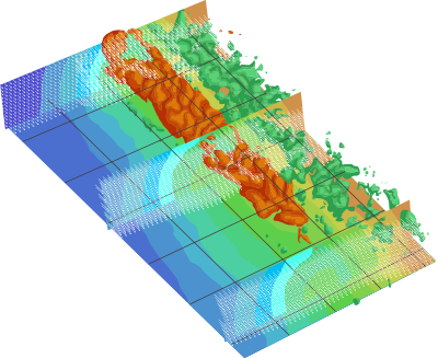 Flow field features of fractal impinging, 3D-PIV data taken with four Zyla sCMOS cameras, courtesy of Professor Astarita at Universit´a di Napoli Federico II.